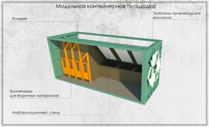 Проект пункта приема вторсырья и модульной контейнерной площадки. ИжГТУ. Попов Д.А.
