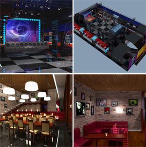 Проект интерьеров Дома Кино «Москва» (ночной клуб, суши-бар, ресторан, кафе, VIP-зал). г. Кемерово