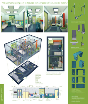 Концептуальный проект интерьера и оборудования больничной палаты