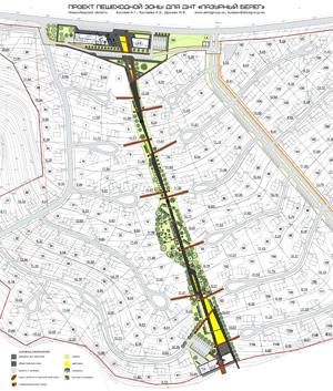 Проект пешеходной зоны для ДНТ «Лазурный берег». Новосибирская область