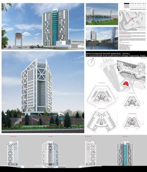 Многоэтажный жилой комплекс «Парус» на набережной р. Шайтанка в Салехарде
