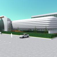 Проект здания фехтовального центра в Новосибирске. Проектная организация: «АкадемСтрой». Руководитель проекта: Турецкий Б.М. 2015 г.